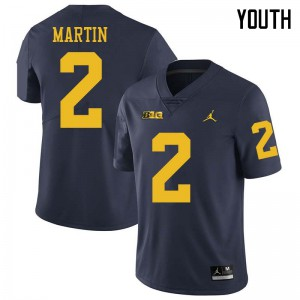 Michigan Wolverines #2 Oliver Martin Youth Navy College Football Jersey 275941-537