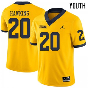 Michigan Wolverines #20 Brad Hawkins Youth Yellow College Football Jersey 370666-241