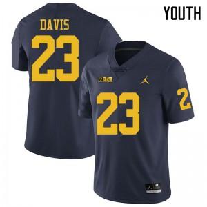 Michigan Wolverines #23 Jared Davis Youth Navy College Football Jersey 175424-275