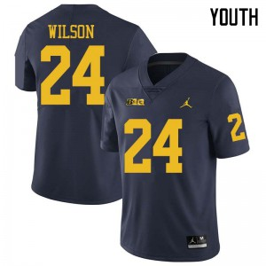 Michigan Wolverines #24 Tru Wilson Youth Navy College Football Jersey 253550-981