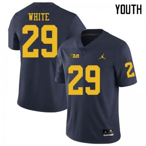 Michigan Wolverines #29 Brendan White Youth Navy College Football Jersey 414265-915