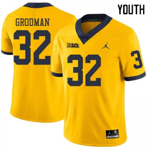 Michigan Wolverines #32 Louis Grodman Youth Yellow College Football Jersey 136155-179