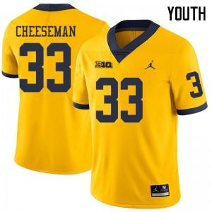 Michigan Wolverines #33 Camaron Cheeseman Youth Yellow College Football Jersey 980699-284