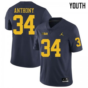 Michigan Wolverines #34 Jordan Anthony Youth Navy College Football Jersey 588023-637