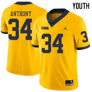 Michigan Wolverines #34 Jordan Anthony Youth Yellow College Football Jersey 963677-167
