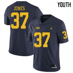 Michigan Wolverines #37 Bradford Jones Youth Navy College Football Jersey 224183-731