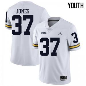 Michigan Wolverines #37 Bradford Jones Youth White College Football Jersey 946083-487