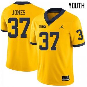 Michigan Wolverines #37 Bradford Jones Youth Yellow College Football Jersey 194197-774