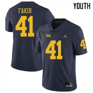 Michigan Wolverines #41 Adam Fakih Youth Navy College Football Jersey 376187-241