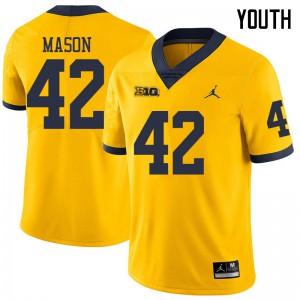 Michigan Wolverines #42 Ben Mason Youth Yellow College Football Jersey 955314-925