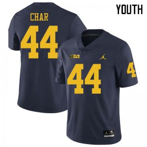 Michigan Wolverines #44 Jared Char Youth Navy College Football Jersey 483532-472