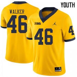 Michigan Wolverines #46 Kareem Walker Youth Yellow College Football Jersey 466955-895