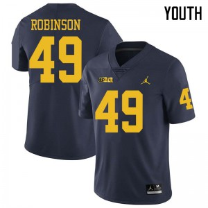 Michigan Wolverines #49 Andrew Robinson Youth Navy College Football Jersey 938589-651