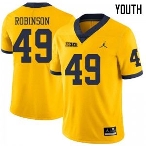 Michigan Wolverines #49 Andrew Robinson Youth Yellow College Football Jersey 954594-874