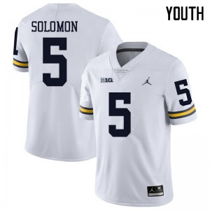 Michigan Wolverines #5 Aubrey Solomon Youth White College Football Jersey 645285-372