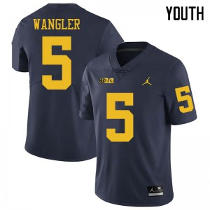Michigan Wolverines #5 Jared Wangler Youth Navy College Football Jersey 654160-415