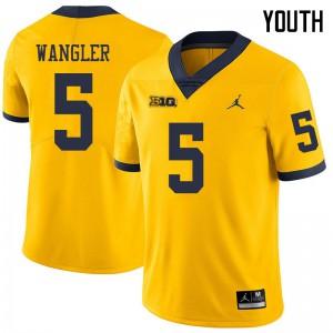 Michigan Wolverines #5 Jared Wangler Youth Yellow College Football Jersey 423221-130