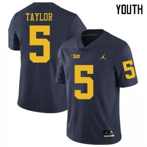 Michigan Wolverines #5 Kurt Taylor Youth Navy College Football Jersey 148731-156