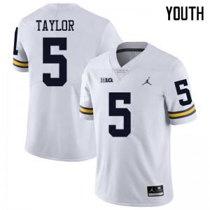 Michigan Wolverines #5 Kurt Taylor Youth White College Football Jersey 145799-305
