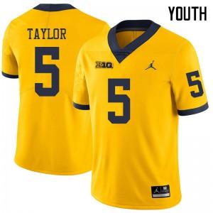 Michigan Wolverines #5 Kurt Taylor Youth Yellow College Football Jersey 882033-998