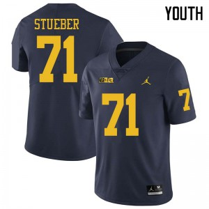 Michigan Wolverines #71 Andrew Stueber Youth Navy College Football Jersey 445613-280