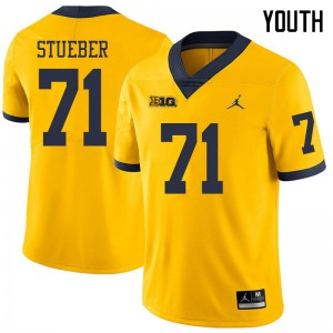Michigan Wolverines #71 Andrew Stueber Youth Yellow College Football Jersey 668357-771