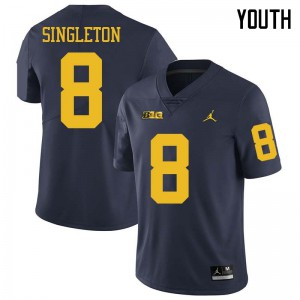 Michigan Wolverines #8 Drew Singleton Youth Navy College Football Jersey 710535-341