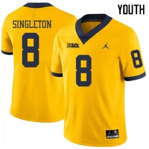 Michigan Wolverines #8 Drew Singleton Youth Yellow College Football Jersey 588210-171