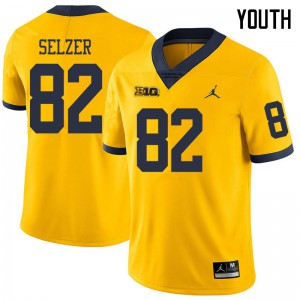 Michigan Wolverines #82 Carter Selzer Youth Yellow College Football Jersey 501862-740