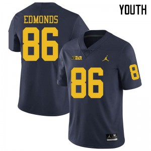 Michigan Wolverines #86 Conner Edmonds Youth Navy College Football Jersey 914336-189