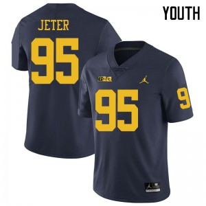Michigan Wolverines #95 Donovan Jeter Youth Navy College Football Jersey 878234-398