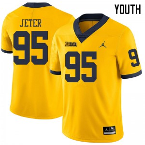 Michigan Wolverines #95 Donovan Jeter Youth Yellow College Football Jersey 594286-596