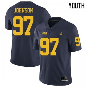 Michigan Wolverines #97 Ron Johnson Youth Navy College Football Jersey 611535-735