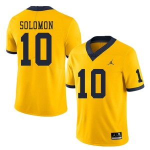 Michigan Wolverines #10 Anthony Solomon Men's Yellow College Football Jersey 548877-501
