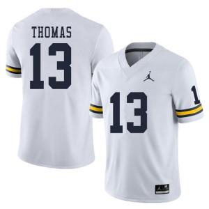 Michigan Wolverines #13 Charles Thomas Men's White College Football Jersey 367175-477