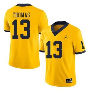 Michigan Wolverines #13 Charles Thomas Men's Yellow College Football Jersey 167462-992