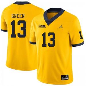Michigan Wolverines #13 German Green Men's Yellow College Football Jersey 457664-368