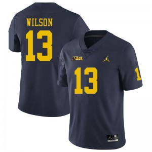 Michigan Wolverines #13 Tru Wilson Men's Navy College Football Jersey 897555-241