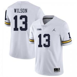Michigan Wolverines #13 Tru Wilson Men's White College Football Jersey 771417-632