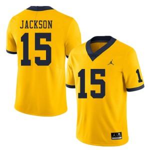 Michigan Wolverines #15 Giles Jackson Men's Yellow College Football Jersey 992363-967