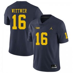 Michigan Wolverines #16 Max Wittwer Men's Navy College Football Jersey 573686-790
