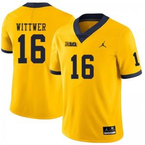 Michigan Wolverines #16 Max Wittwer Men's Yellow College Football Jersey 265785-901