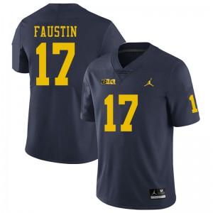 Michigan Wolverines #17 Sammy Faustin Men's Navy College Football Jersey 352078-735