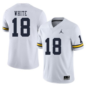 Michigan Wolverines #18 Brendan White Men's White College Football Jersey 325257-912