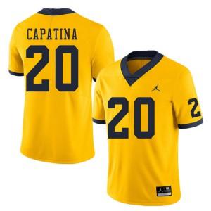 Michigan Wolverines #20 Nicholas Capatina Men's Yellow College Football Jersey 470390-134