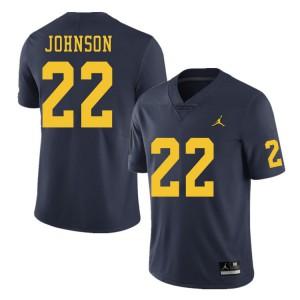 Michigan Wolverines #22 George Johnson Men's Navy College Football Jersey 878566-760