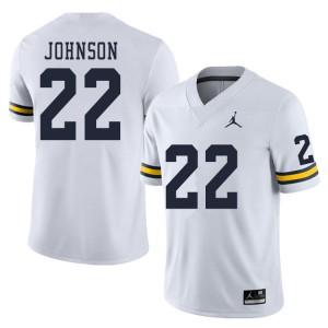 Michigan Wolverines #22 George Johnson Men's White College Football Jersey 151442-458