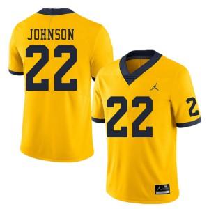 Michigan Wolverines #22 George Johnson Men's Yellow College Football Jersey 501062-972