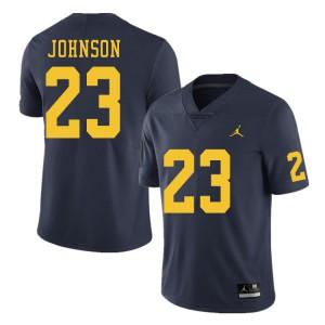 Michigan Wolverines #23 Quinten Johnson Men's Navy College Football Jersey 398008-148