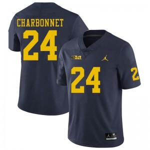 Michigan Wolverines #24 Zach Charbonnet Men's Navy College Football Jersey 586107-857